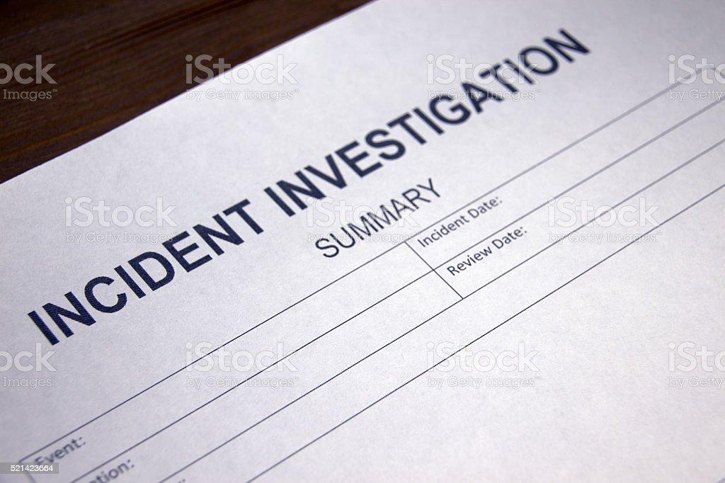 Incident Investigation Summary stock photo