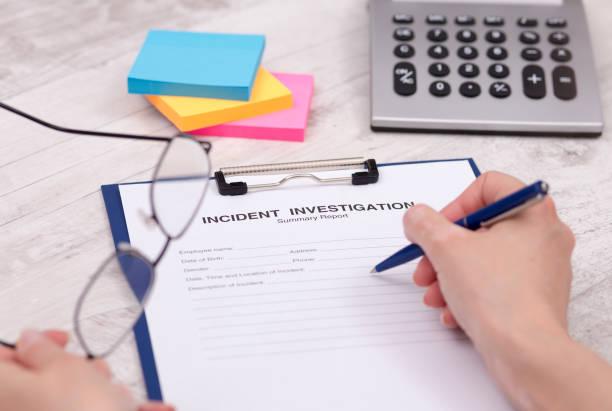 Incident Investigation Summary Report stock photo