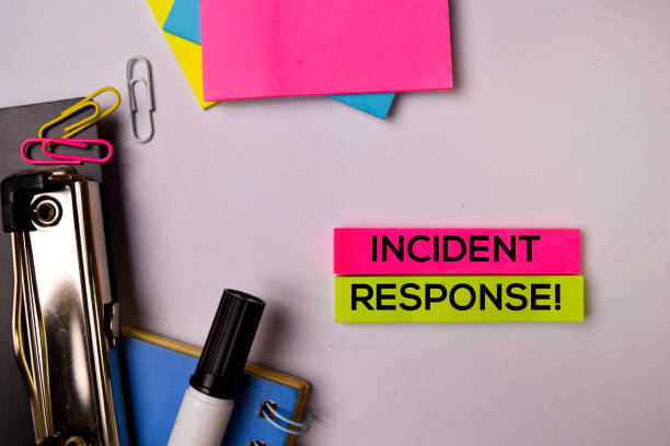 Incident Response! on sticky notes isolated on white background. stock photo