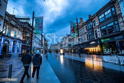 Incidental People on Cardiff City Street.