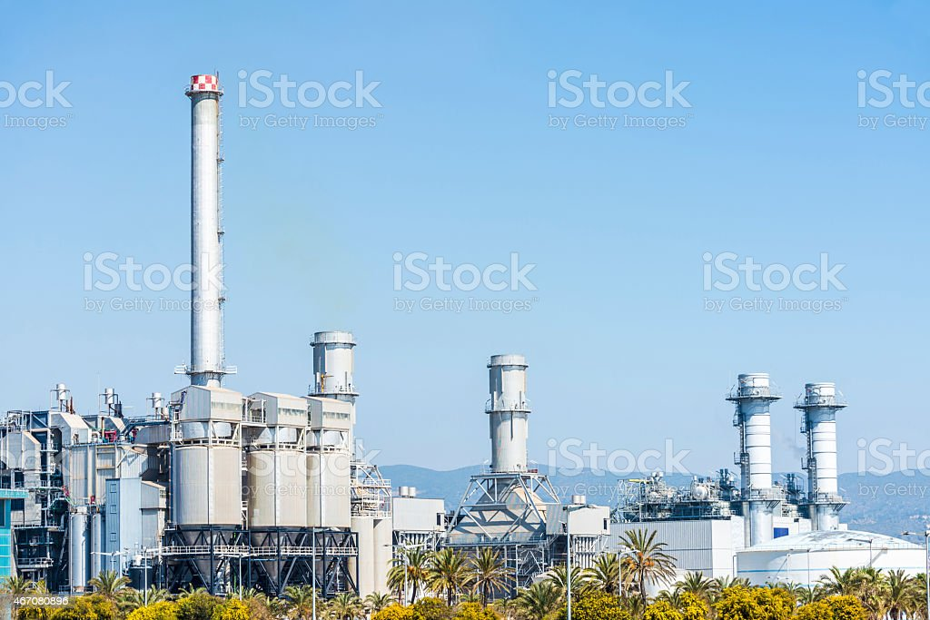 Incinerator plant in Barcelona stock photo