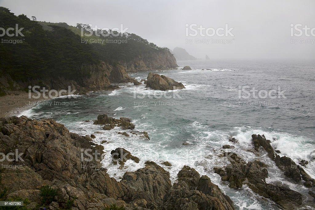 inclement beauty of Pacific ocean coastline stock photo