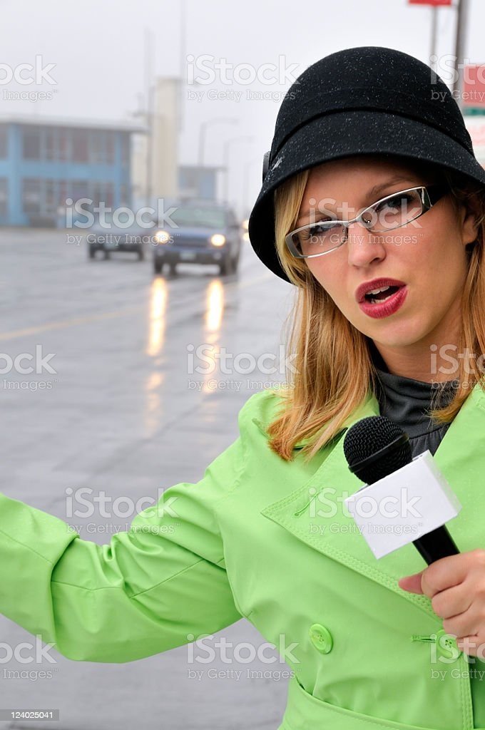 Inclement Weather Traffic Reporter at Work stock photo