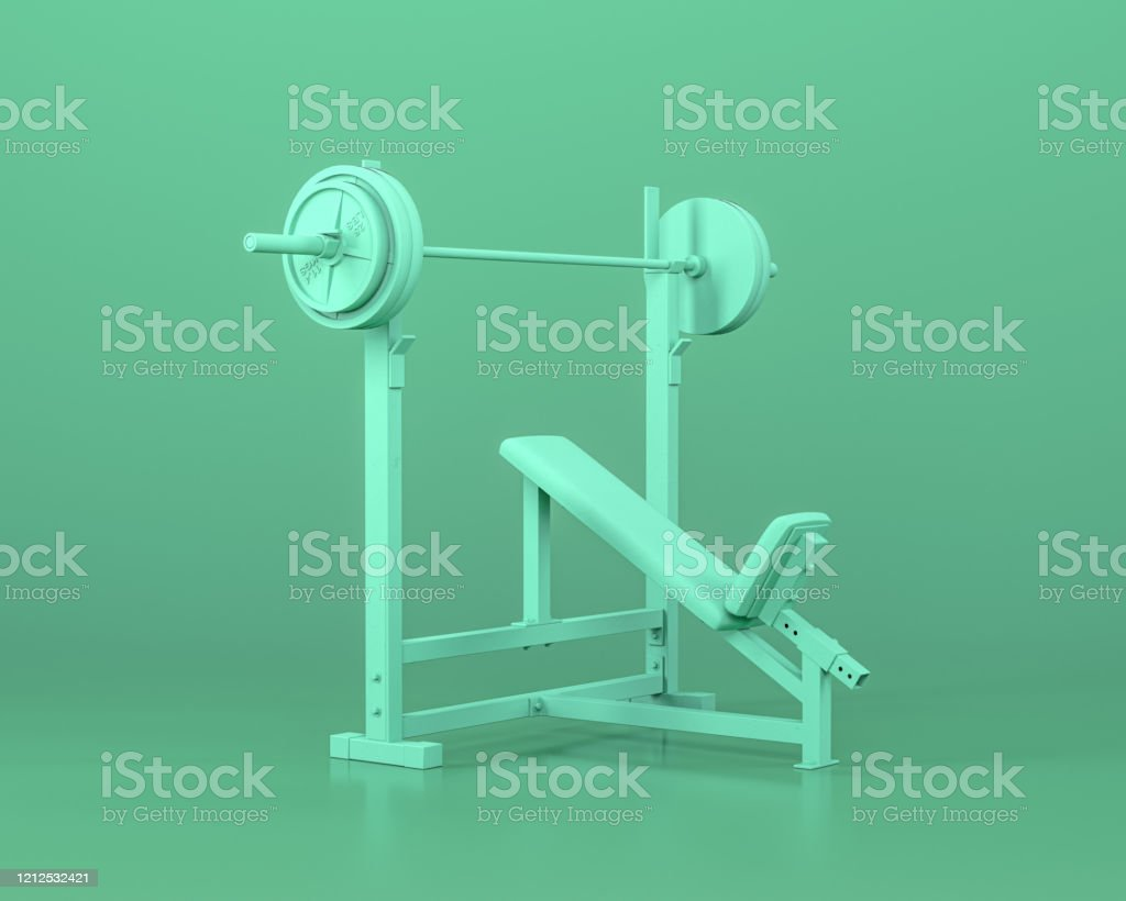 Incline Bench Full Gym Equipments In Monochrome Blue Color Background3d  Rendering Stock Photo - Download Image Now - iStock