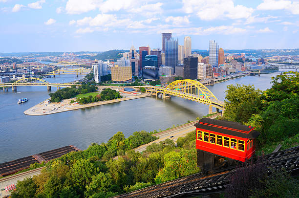 Incline in Pittsburgh The Duquesne Incline descends from Mount Washington in Pittsburgh, Pennsylvania, USA. monongahela river stock pictures, royalty-free photos & images