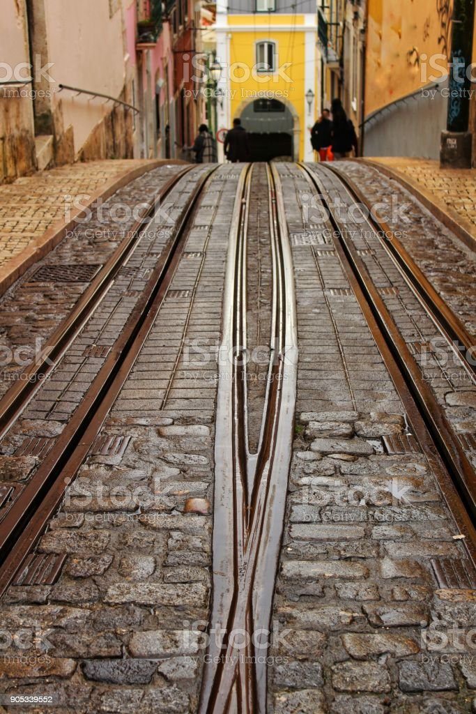 Inclined Street In Lisbon And Bica Elevator Rails Stock Photo More