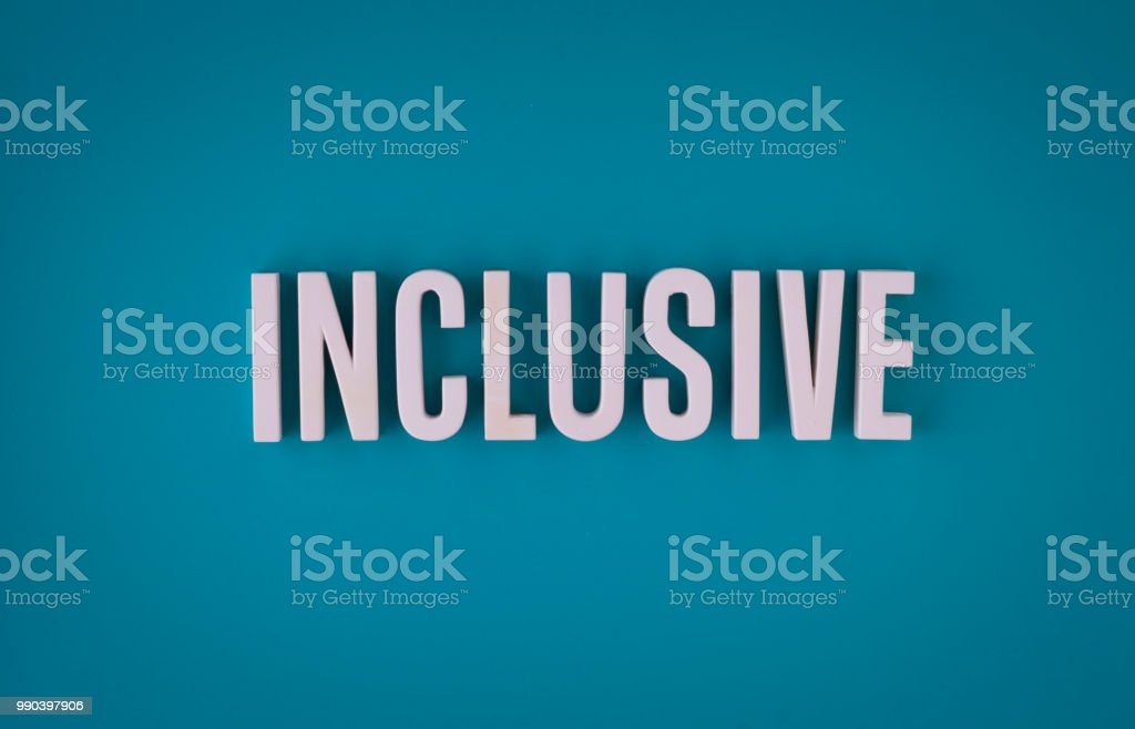 Inclusive lettering sign stock photo
