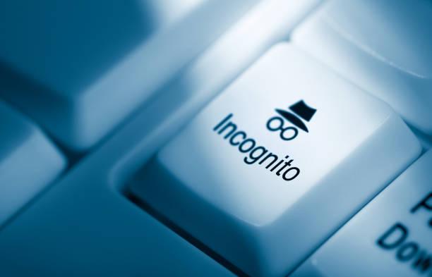 Incognito computer key stock photo