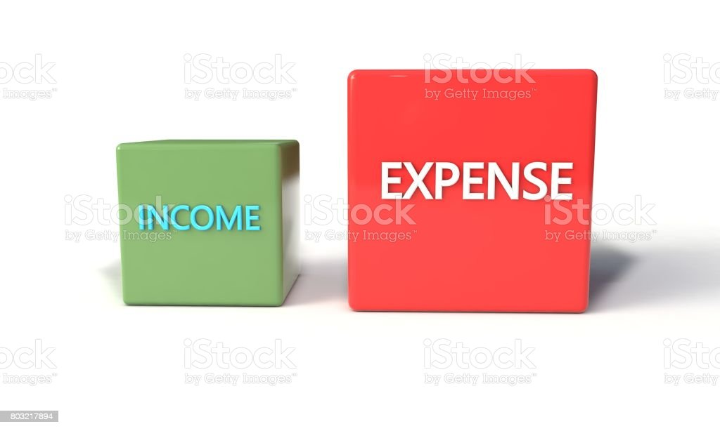 Income and expense concept, 3d stock photo