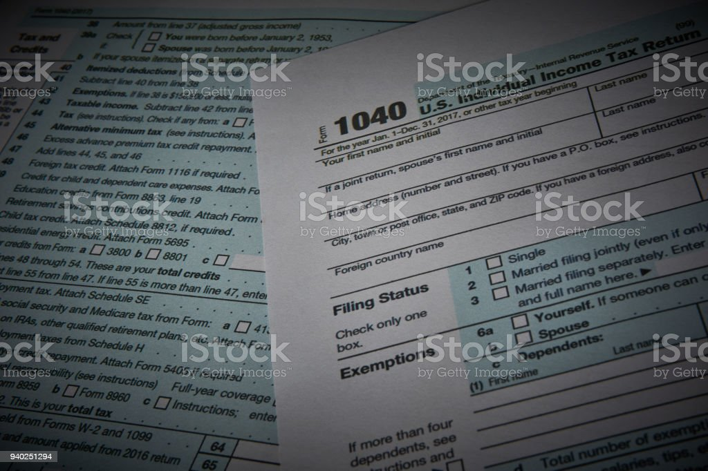Income form 1040 stock photo