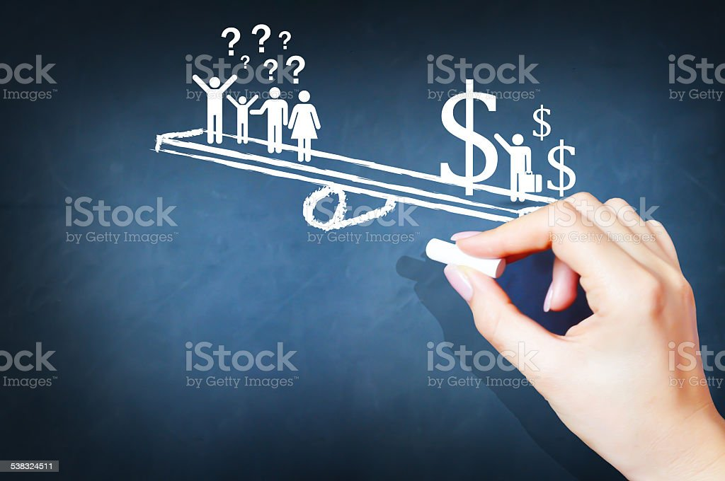 Income inequality between people concept stock photo