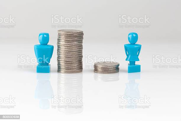 Income Inequality Concept With Figurines And Coins Stock Photo - Download Image Now