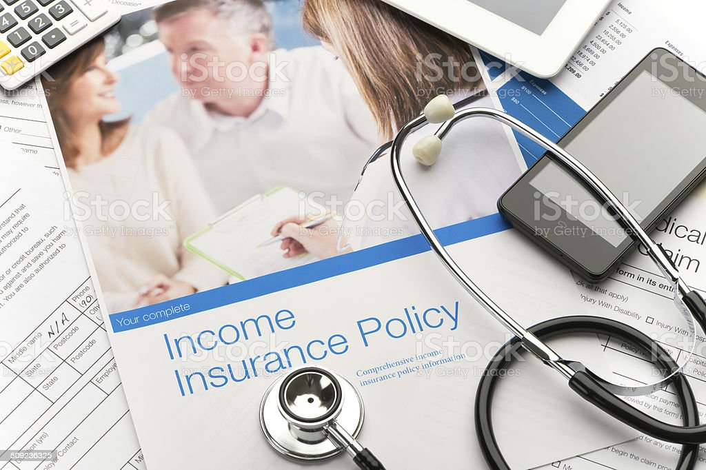 Income insurance policy brochure royalty-free stock photo