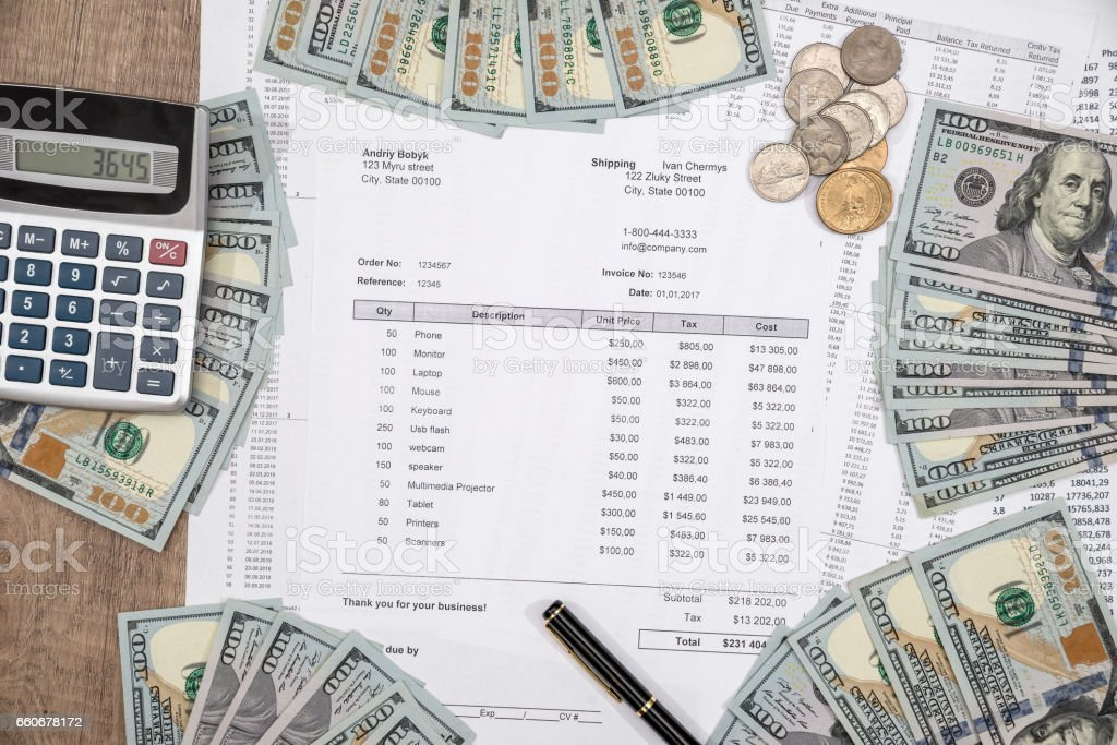 income statement with dollar cash and pen, bank statement, finance saving and investment concept. stock photo