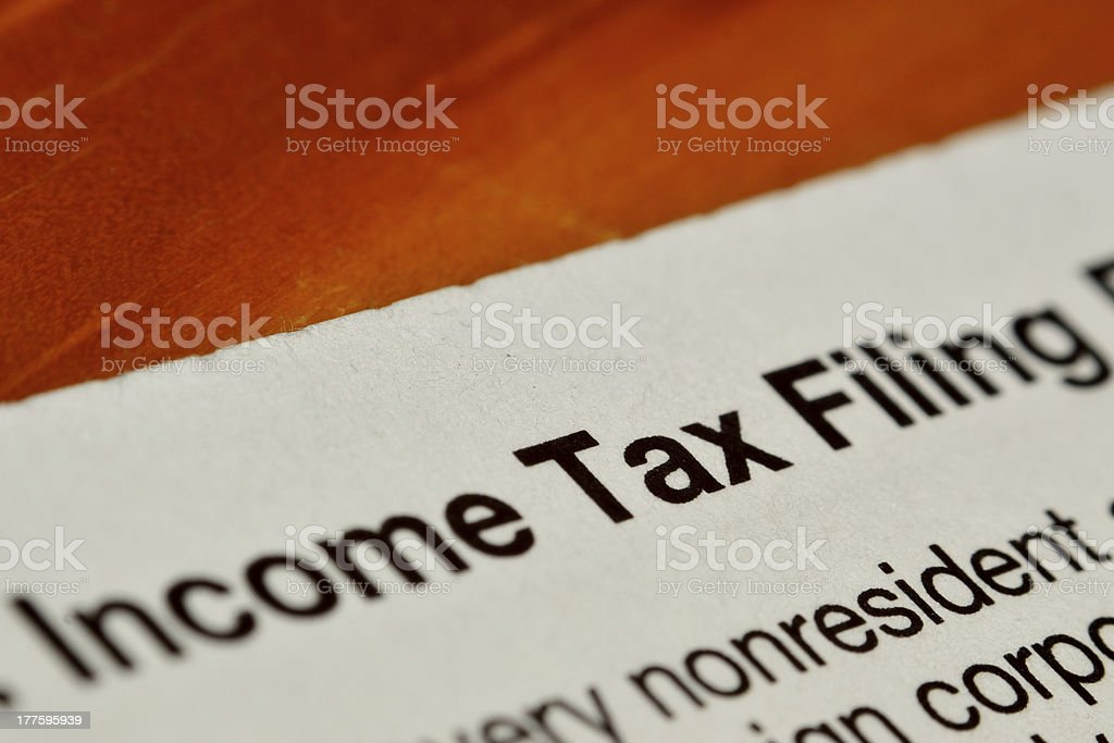 Income tax filing form royalty-free stock photo