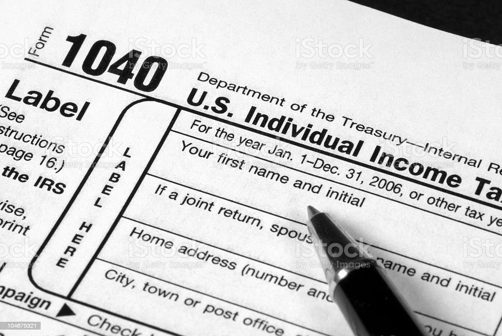 Income Tax Form stock photo