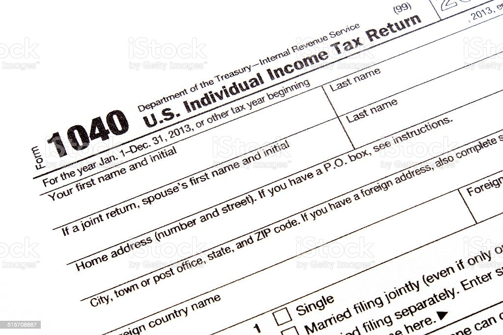 U.S. income tax form stock photo