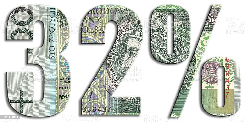 32% income tax level in Poland. Polish Zloty texture. stock photo