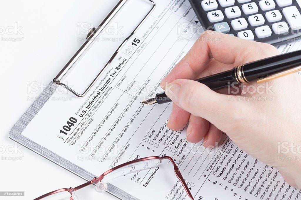 Income Tax Return Form stock photo