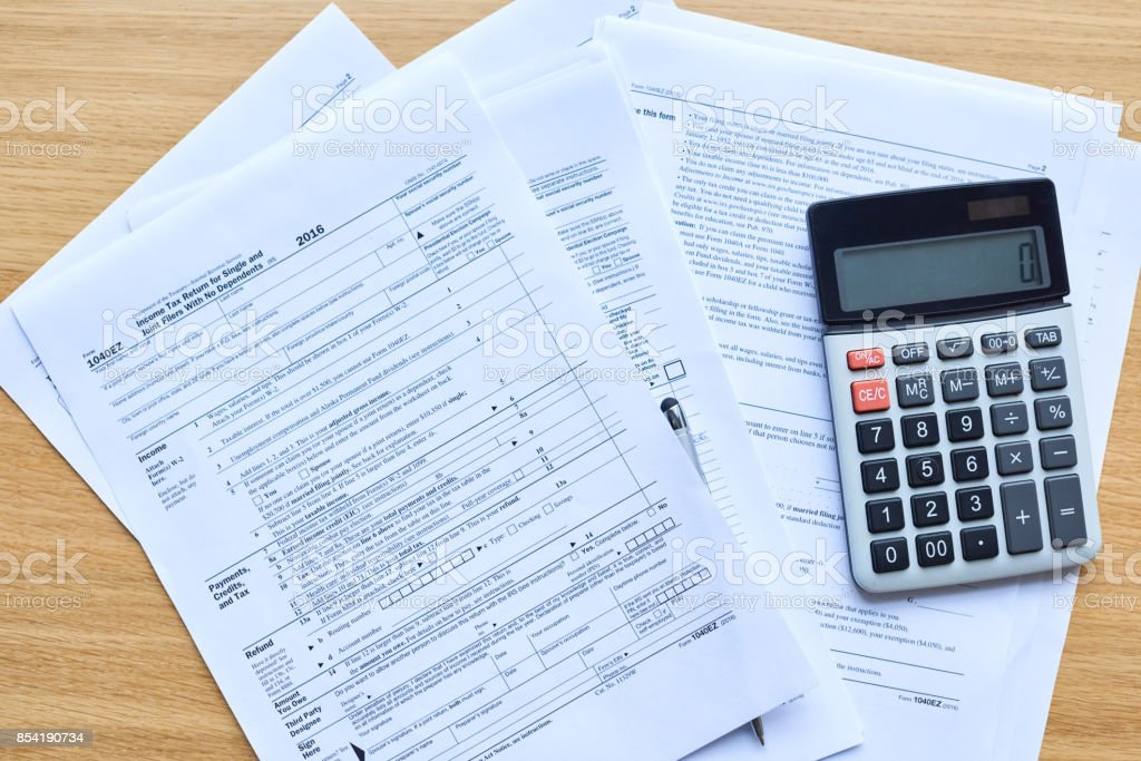 Income tax return papers stock photo