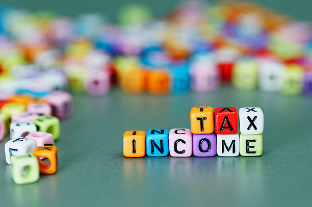 Income Tax word stock photo