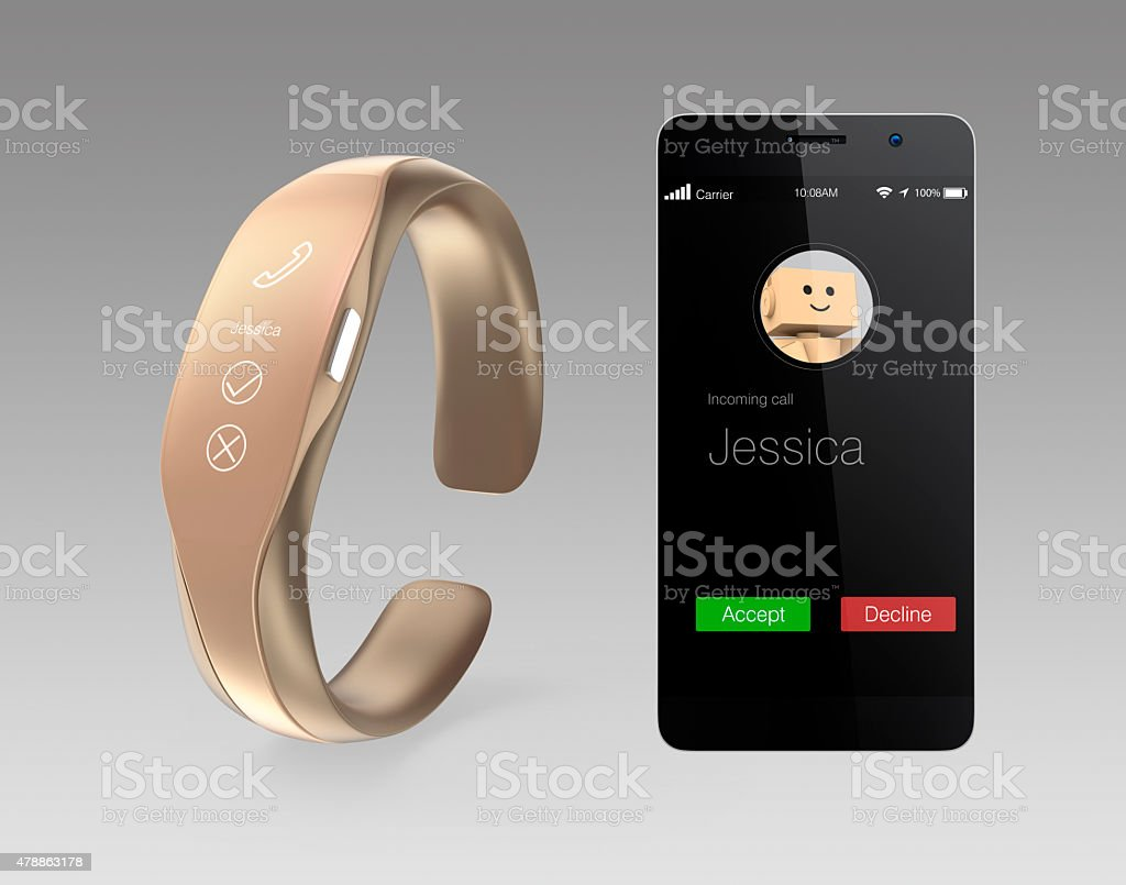 Incoming call information on smart phone and smart band. stock photo