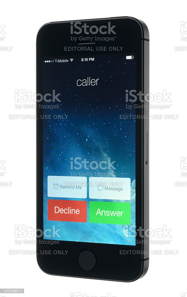 Incoming Call on an Apple iPhone 5s stock photo