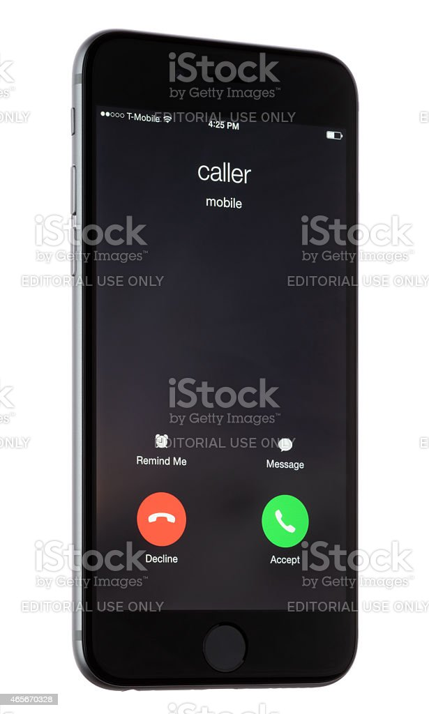 Incoming Call on an Apple iPhone 6 stock photo