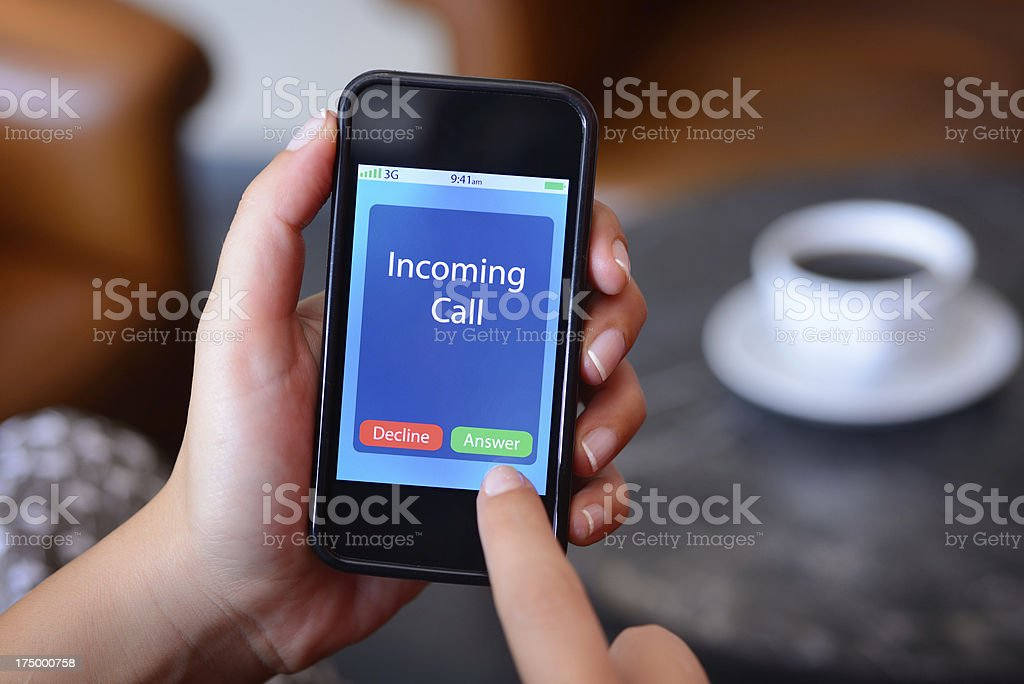 Incoming call on smart phone royalty-free stock photo