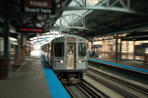 Incoming Chicago L train motion blur