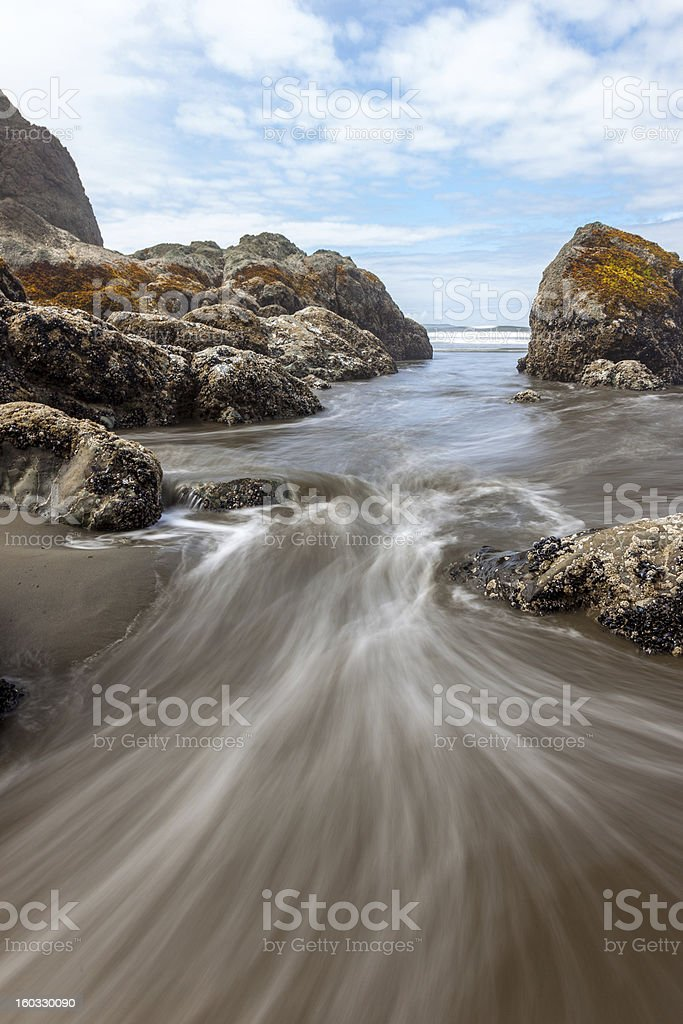 Incoming waterflow at Ruby Beach stock photo