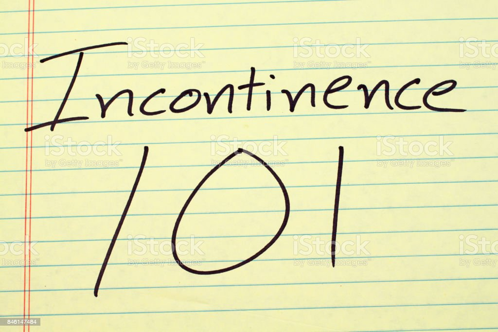 Incontinence 101 On A Yellow Legal Pad stock photo