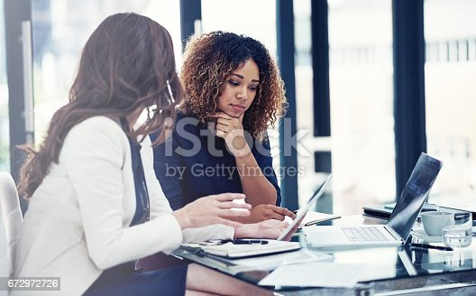 istock Incorporating technology into their team task 672972726
