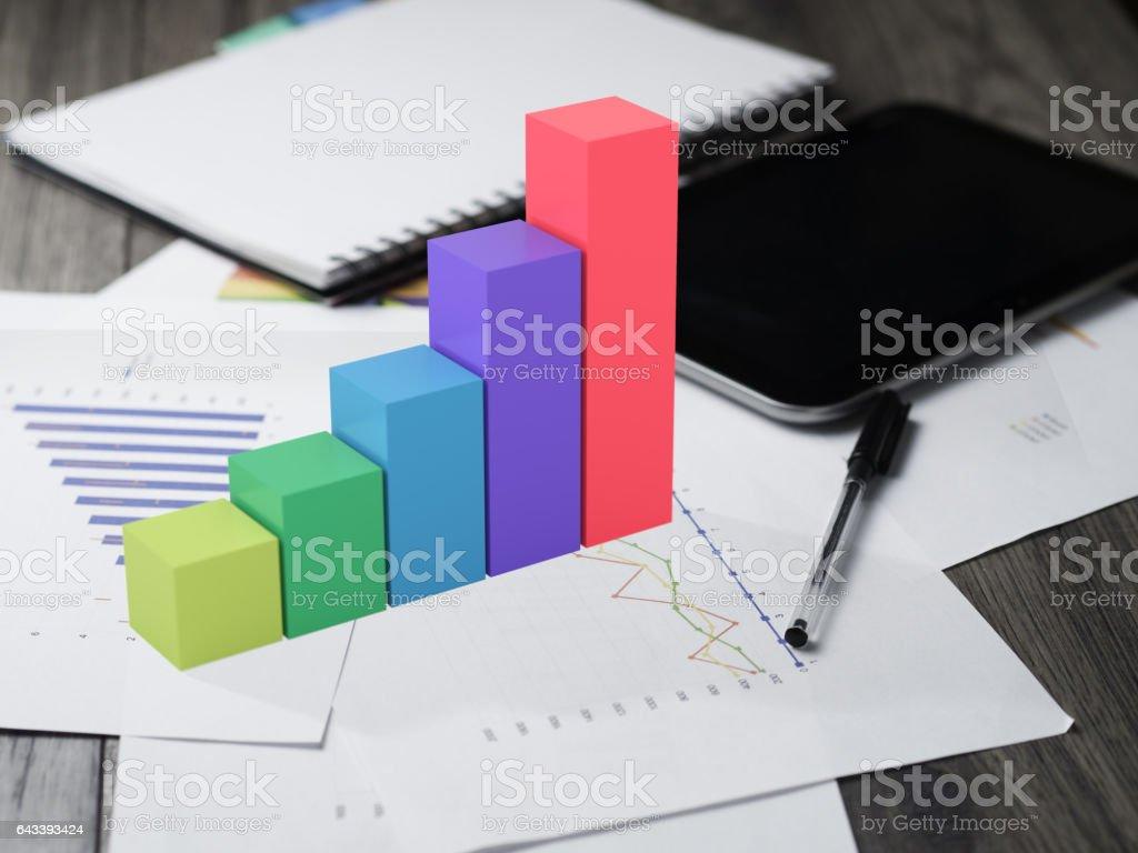 increase bar graph blocks on table stock photo