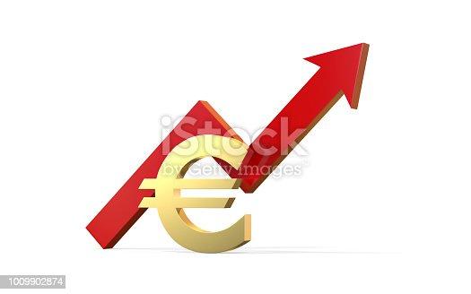 istock Increase in euro value concept, golden euro sign with a rising arrow 1009902874