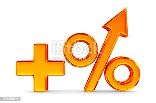 istock Increase percent on white background. Isolated 3D illustration 918368234