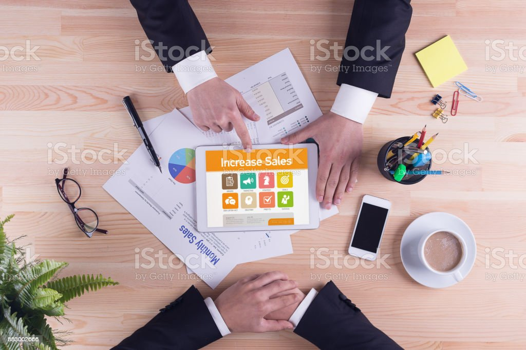 Increase Sales screen on the tablet pc stock photo
