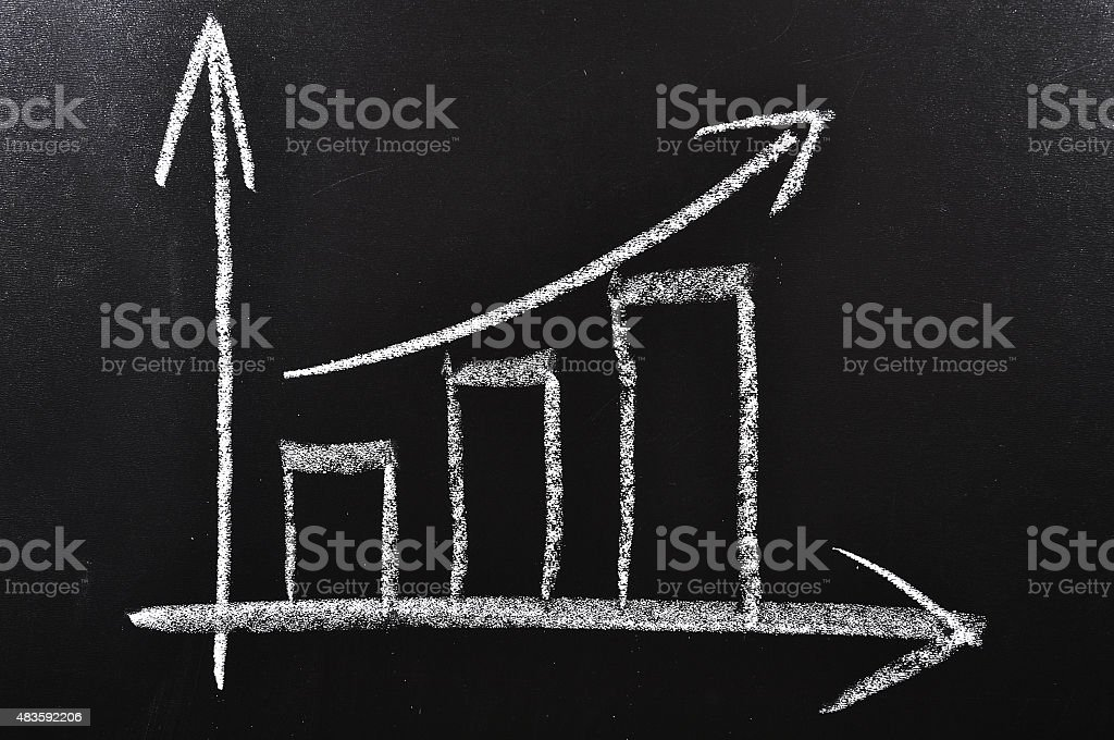 Increasing Chart on a Blackboard Simple diagram showing succes handdrawn on a black chalkboard 2015 Stock Photo
