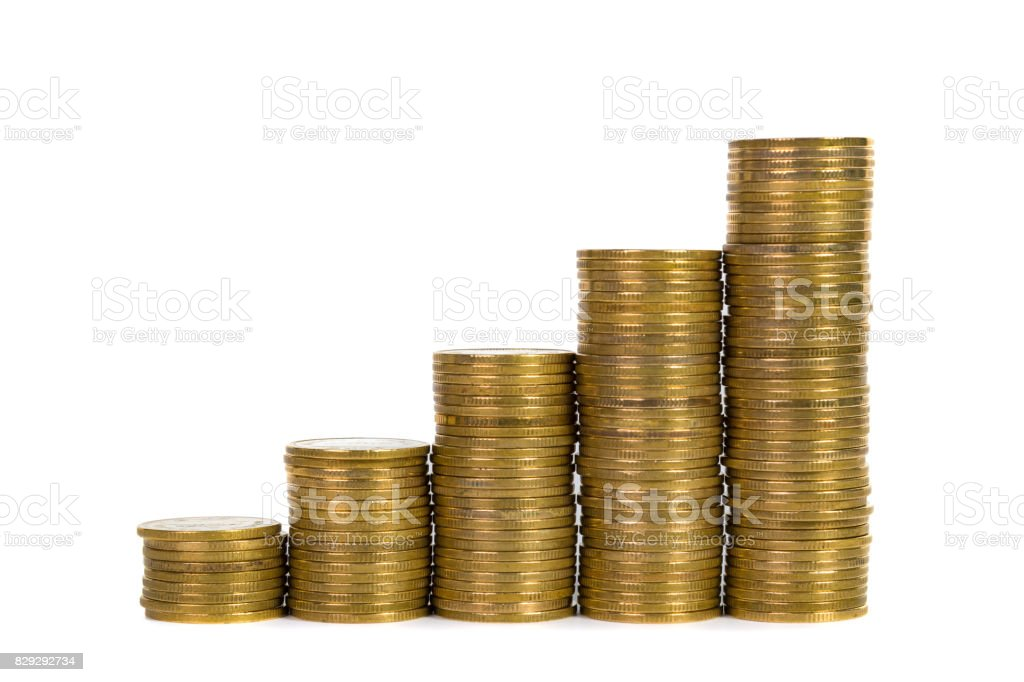 Increasing Columns Of Coins Piles Of Gold Coins Arranged As