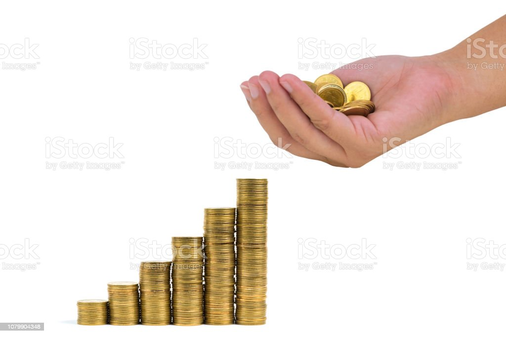 Increasing Columns Of Coins Step Of Stacks Coin Isolated On
