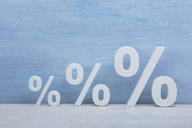 Increasing Size Of Percentage Symbols stock photo