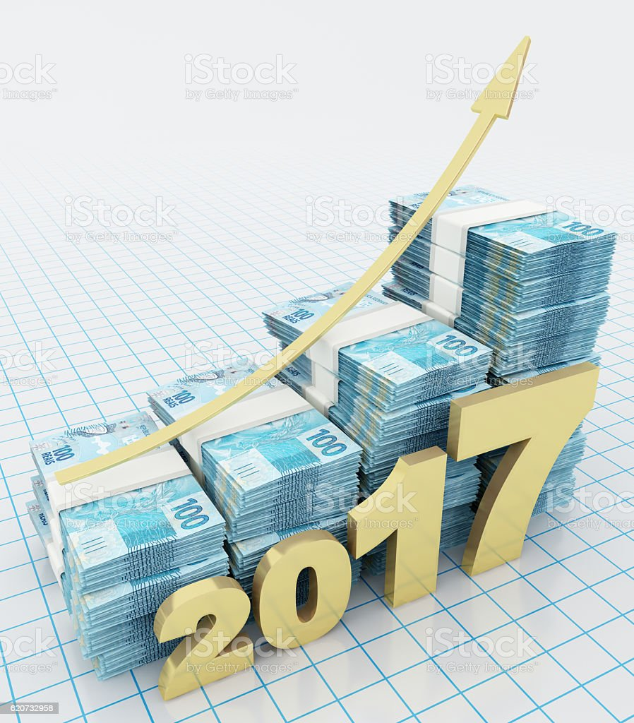 Increasing value of Brazilian Real in 2017 stock photo