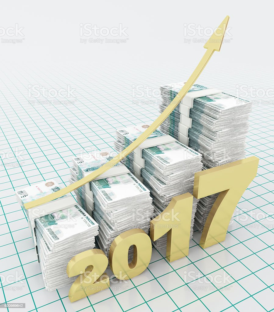Increasing value of Russian Ruble in 2017 foto royalty-free