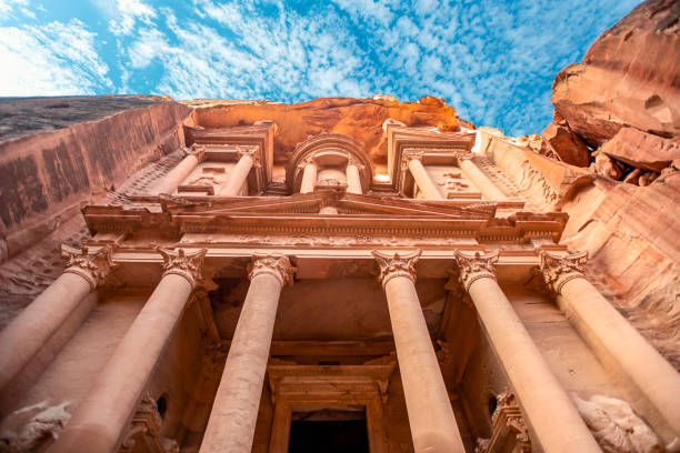 incredible and mystical look at the Al Khazneh tomb. The Treasury tomb of Petra, Jordan - Image, selective focus stock photo