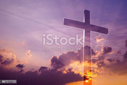 istock Incredible cross in the sky 657277722