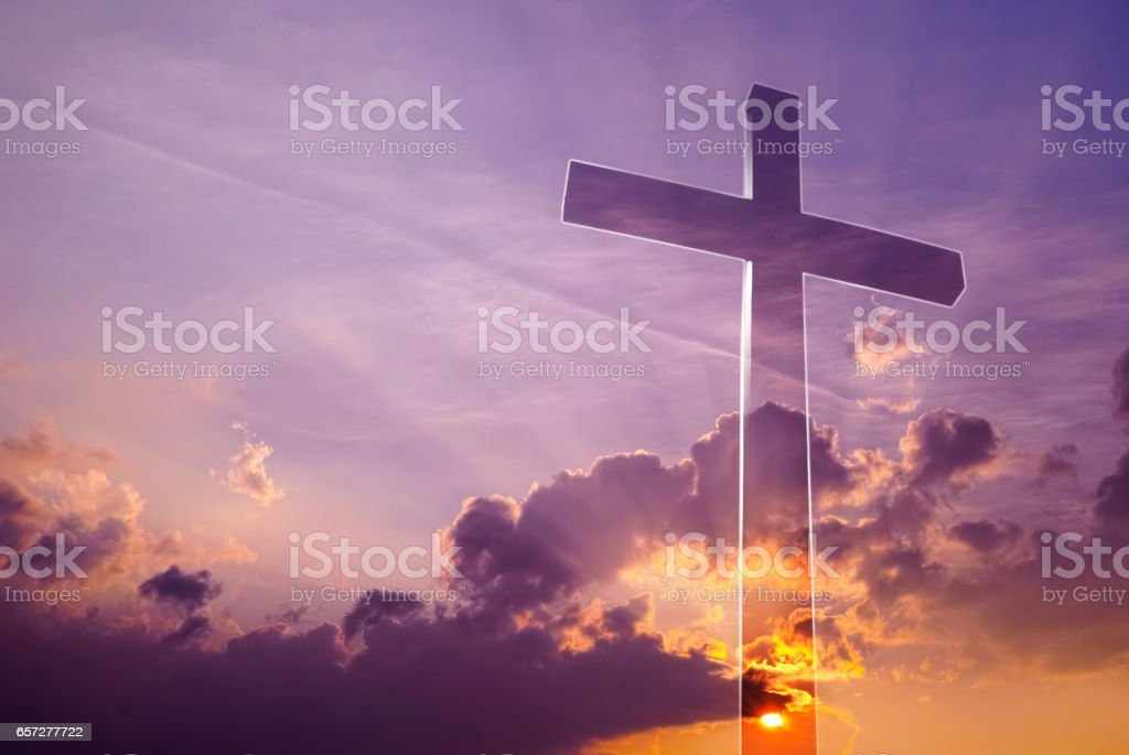 Incredible cross in the sky stock photo