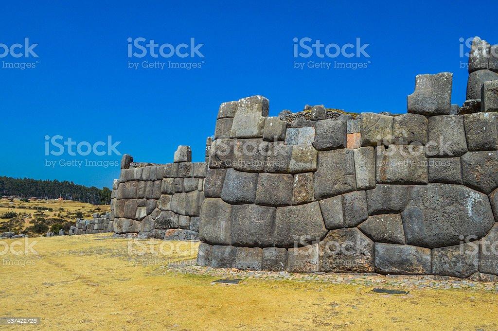Incredible Inca stone wall in Sacsayhuaman near Cusco, Peru stock photo