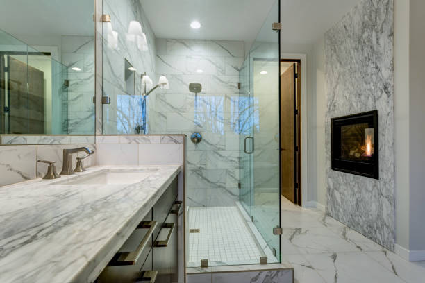 incredible marble bathroom with fireplace. - customize stock pictures, royalty-free photos & images