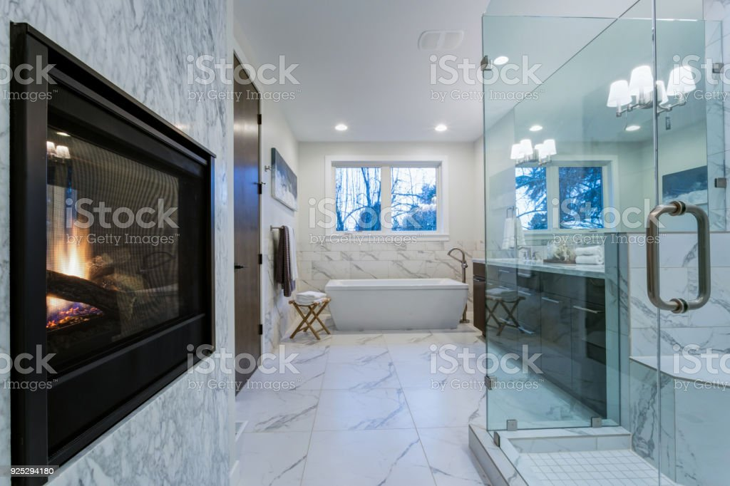 Incredible Marble Bathroom With Fireplace Stock Photo Download Image Now Istock