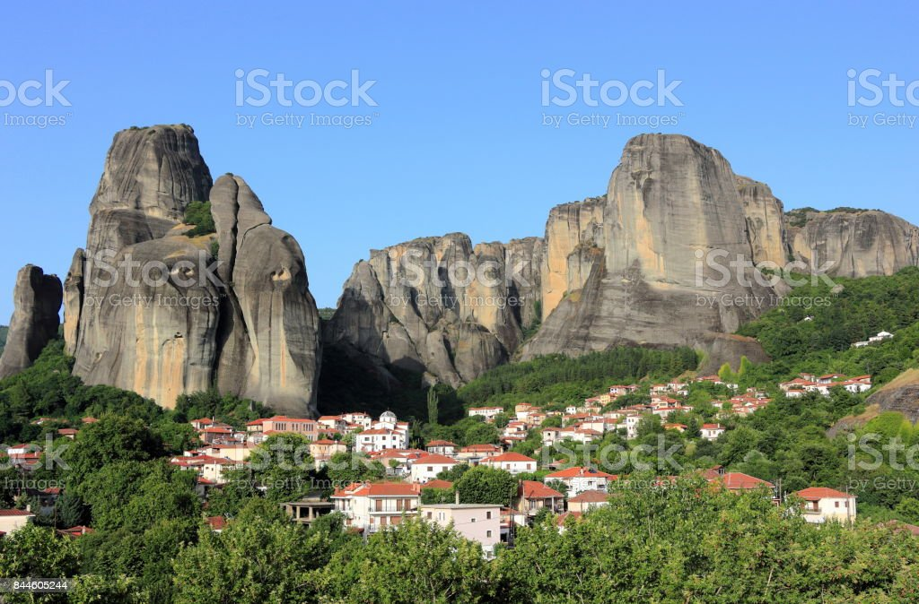 Incredible rock formations in Meteora. Kalambaka, Kastraki, central Greece. stock photo